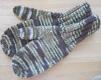 MITTENS HAND KNIT Adult Wool Spring Blossoms