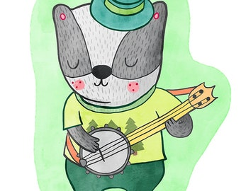 Badger with a Banjo - Badger Nursery Art, Badger Illustration, Badger Wall Art, Badger Nursery Decor, Nursery Art Illustration Print