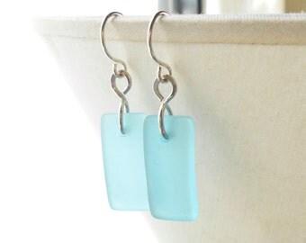 Cultured Sea Glass Earrings, Aqua Blue Sterling Silver Dangle Earrings, Beach Jewelry