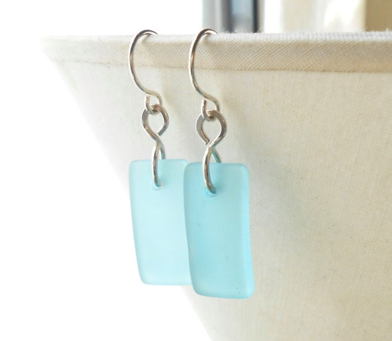 Cultured Sea Glass Earrings, Aqua Blue Sterling Silver Dangle Earrings, Beach Jewelry