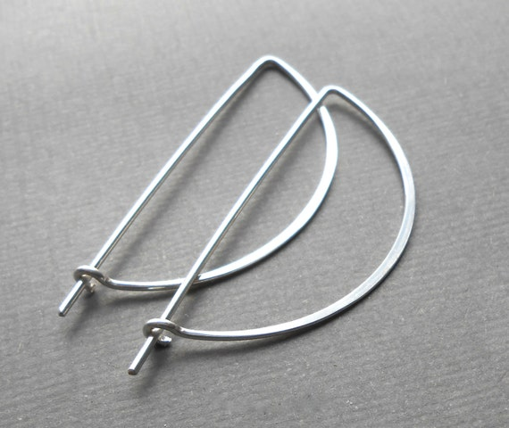Sterling Silver Half Circle Hoop Earrings