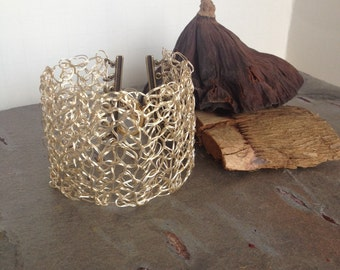 Gold-toned Wire Crocheted Cuff