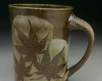 Woodfired Mug with Japanese Maple Design