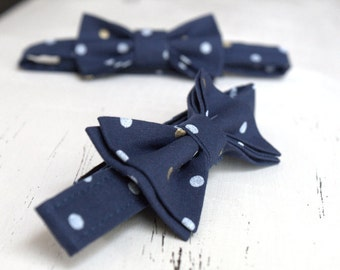 Navy Bow Tie - Bowtie - Pretied Pre Tied- Adult - Boys - Baby - Toddler - Formal Casual Wedding - Navy Blue Dots - Geek Dr Who