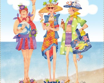 "AP6.1 - Girlfriends at the Beach - 6"" Fabric Art Panel"