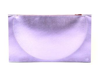 Eclipse - Handmade Lilac Purple Leather Clutch Bag Zip Pouch Purse SS17