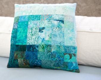 Quilted Pillow Modern Patchwork Pillow Ocean Beach Decor 17x17 Decorative Fiber Art Pillow Turquoise Quilted Pillow Toss Pillow Blue Decor