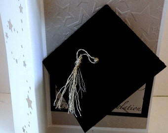 Graduation Greeting Card Silver and Black Tri Fold with Graduation Hat and Gift Card Holder