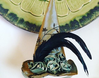 Green Lady Elegant Witch Hat, Witches Mini Top Hat, Halloween Fascinator