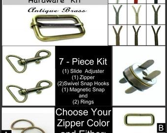 "1 SET - 1 1/2"" - 7 Piece - ANTIQUE BRASS Metal Handbag Purse Hardware Kit - Slide, Rings, Swivel Hooks, Zipper and Magnetic Snap"