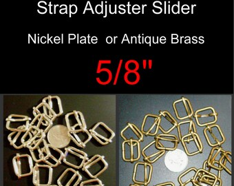 "10 PIECES - 5/8"" - Moveable Bar Slide, Strap Adjuster Slider, 15.875mm - Nickel Plate or Antique Brass"