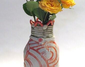 Ceramic Vase with Embossed Orange Swirls