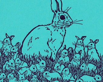 Spring Bunnies Card Letterpress Printed Original Illustration