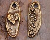 Heart and XO XO Dangle Charm in Bronze 605b