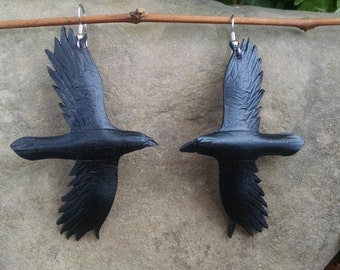 Leather Raven earings