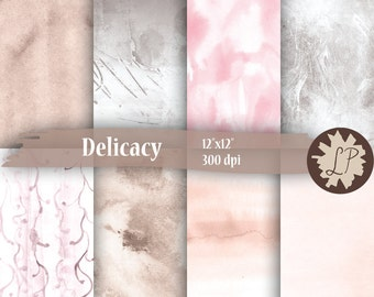 Pastel Watercolor Paper,  Digital Paper Pack, Scrapbook Paper for mixed media planner paper, blog backgrounds, etsy banners by LIZPLUMMER