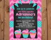 Cupcake Invitation - First Birthday Invitation - Cupcake Birthday Party - First Birthday Invitation Girl - Cupcake Invite - Digital - Pink