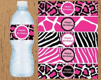 Hot Pink Zebra Leopard Animal Print Party Birthday Digital Printable Water Bottle Labels