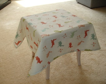 "3ft Square Tablecloth 36""x36"" Rabbits Hares Orange Brown Green Duck Egg Aqua Coral 90x90cm Coffee Table Cover"