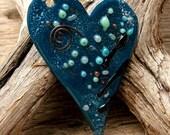 ENAMELED HEART PENDANT -  Handmade Copper Enamel Focal Pendant