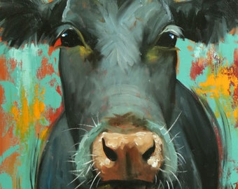 Cow painting animals 1130  24x36 inch original portrait oil painting by Roz