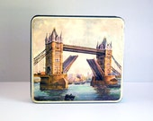 British Biscuit Tin, Tower Bridge London, English Metal Box, Kitchen Storage Container, Tin Canister, Engineering Architecture, Westminster