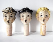 Reserved for Christine, 3 Vintage Composition Choir Boy Heads, Distressed Antique Toys Christmas Decoration Yard Display Assemblage Art