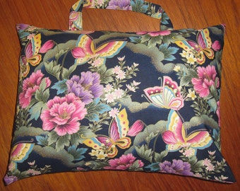 Butterflies and Peonies Travel Pillow with Handle Japanese Asian Design Navy