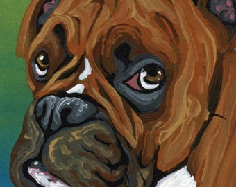 ACEO ATC  Original Gouache Painting  Boxer Dog Pet Art-Carla Smale