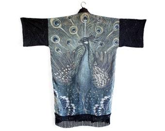 Peacock Kimono, Black Lace Robe, Fringe Jacket, Fringe Kimono, Boho Clothing, Peacock Wedding, Kimono Cardigan, Lace Robe, NorwegianWood
