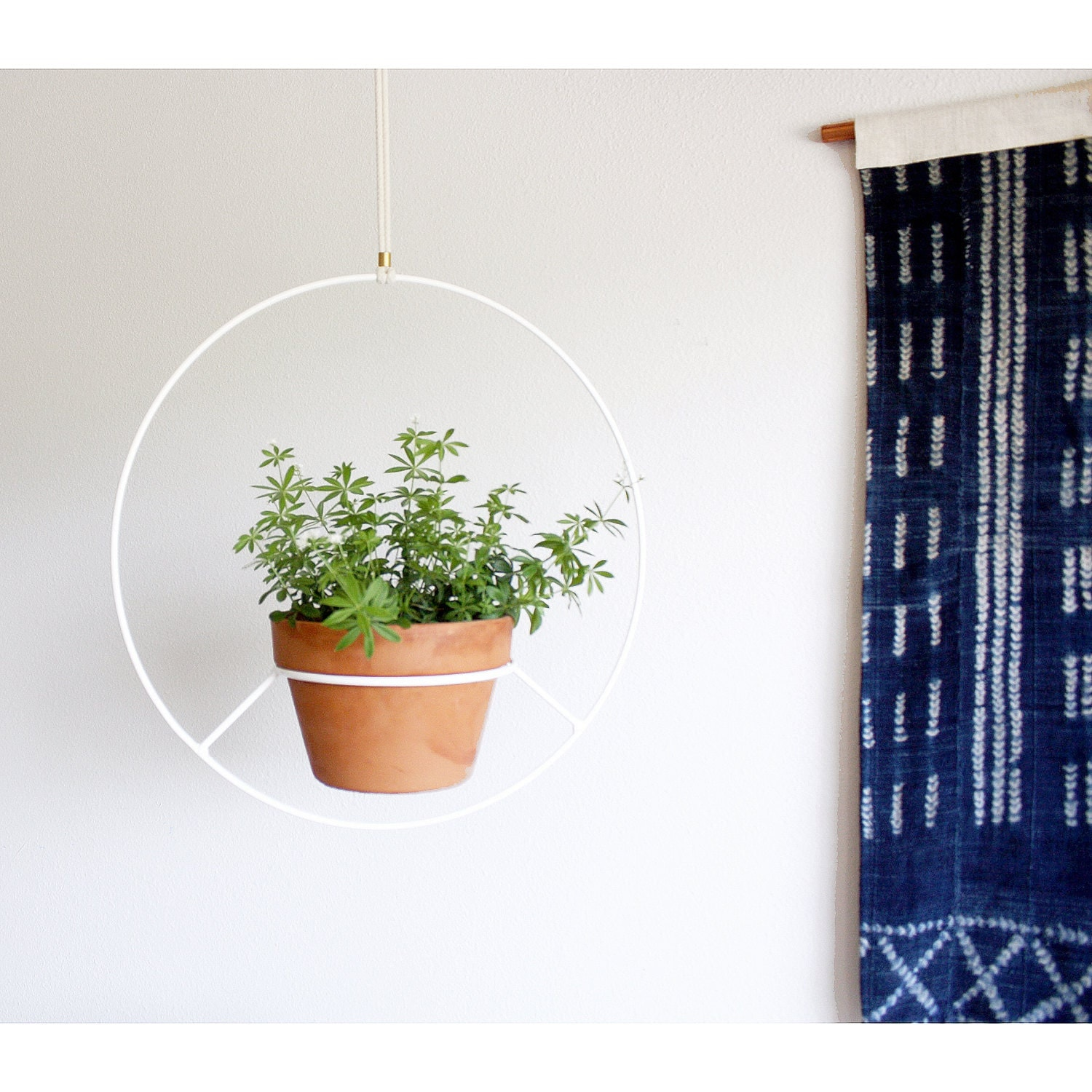 White Hanging Planter Metal Plant Hanger Mid Century Plant