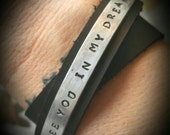 Hand Stamped Aluminum Leather Wrap Bracelet...See You In My Dreams
