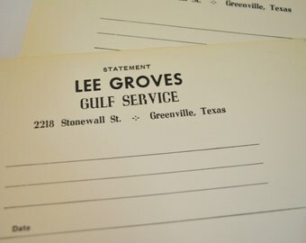 Vintage Gulf Service Station  Invoices   Greenville, Texas Vintage Gulf Service Station Invoices   50 in set