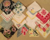 15 vintage Handkerchiefs with Small Flaws