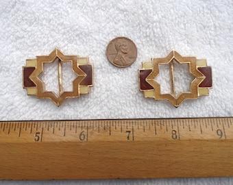 2 Vintage Brass with Black/White/Brown Enameled Shoe or Belt Buckles, Star Design