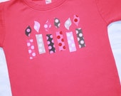 Girls 6th Birthday Candle Shirt - Size 6 long sleeve dark pink with candles in pink and gray polkadots