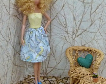 "Bird print Handmade dress for 11.5"" fashion doll dress with shoes"