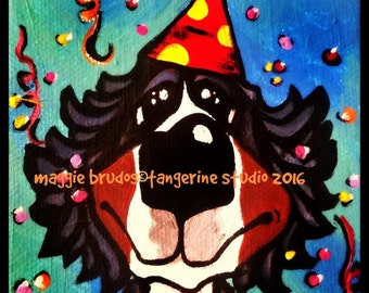 bernese mountain dog berner bmd party animal birthday mini canvas 4x4 x1 thick edge hat  maggie brudos painting Original whimsical DOG art