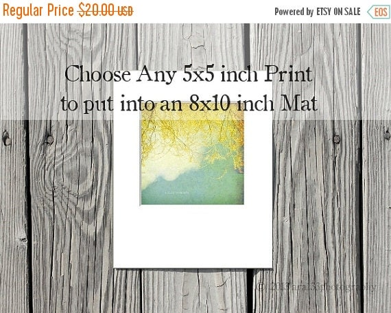 40% OFF SALE Any 5x5 inch print matted to 8x10. You choose the photograph to have matted, ready to frame,  in a white 8x10 mat, Nature, Land