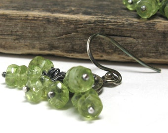 Green peridot cluster earrings, peridot earrings, peridot jewelry, August green earrings, August birthstone jewelry, lime green earrings