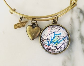 Norris Lake Tennessee Map Charm Bracelet - Tennessee Bracelet - Tennessee Jewelry - Lake Norris Bracelet - Norris Lake Bracelet
