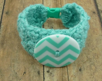 CUFF BRACELET Aqua Teal Crochet Womens Girls Wide Chunky Chevron Button Statement Piece Stacked Stacking Paracord Buckle Cute Jewelry
