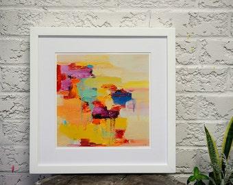 Matted fine art print, Sunlight, wall art, giclee print, painting print 16 x 16
