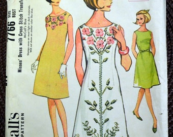 Vintage 60's  Sewing Pattern McCall's 7766 Misses' Dress With Transfers Bust 32 Complete
