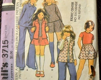 ON SALE Vintage Sewing Pattern McCall's 3715 Girls' Shirt, Skirt, and Pants Size 7 Complete