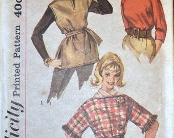 Vintage 1960's  Sewing Pattern Simplicity 3600 Misses' Blouse and Ponchos  Bust 32 inches Complete