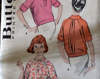 Vintage 1950's Sewing Pattern Butterick 8809 Misses' OverBlouse Bust 32 Inches COMPLETE