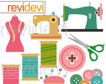 Sewing clipart - sewing machine, thread, buttons, scissor clipart - Sew Creative digital clipart - instant download