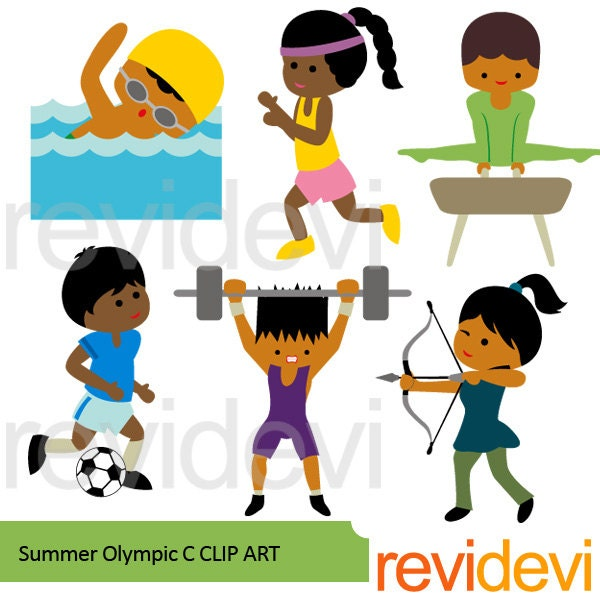 Summer Olympic dark skin kids clipart sport clip art