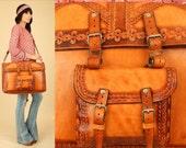 ViNtAgE LEATHER Weekender Bag Gypsy Luggage Travel Bag 70's HUGE Rare Hand Tooled Chunky Artisan HiPPiE BoHo